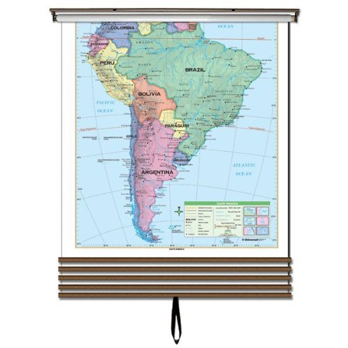 Essential Continent Wall Map Set on Roller w/ Backboard; 7-MapsWall mount hardware included.