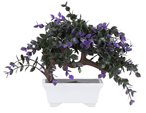 Artificial Bonsai Tree - Fake Plant Decoration, Potted Artificial House Plants for Home Décor Indoor, Money Tree Bonsai Plant for Decoration, Desktop Display, Zen Garden Décor - 10 x 6 x 10.3 Inches by Juvale