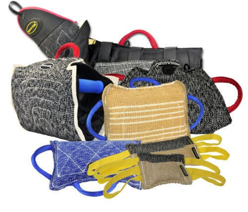 Dean & Tyler 8-Piece Professional Training Bundle Set for Dogs with 1 Young Dog Bite Builder/1 Intermediate Bite Sleeve + French Linen Cuff/1 Tri-Pad/1 Large Tug/2 Medium Tugs/2 Small Tugs by Dean & Tyler