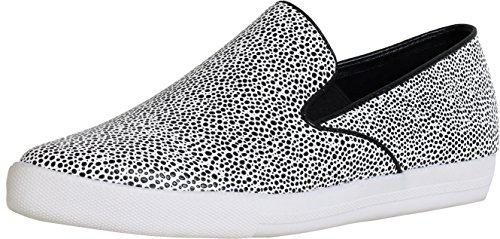 Qupid Women's Mitch-01 Slip-On Fashion Sneaker (5.5 B(M) US, Black/White Stingray PU)