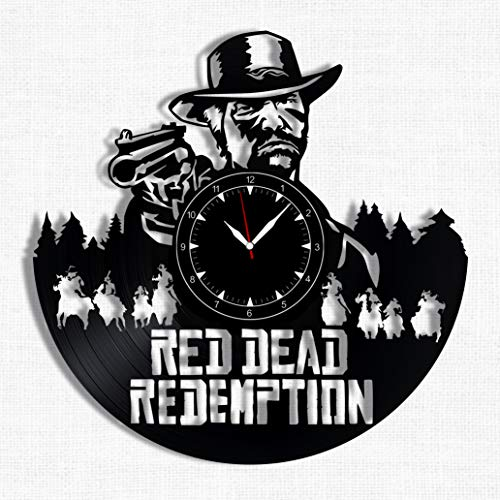 Red Dead Redemption Vinyl Record Clock – Wall Clock Red Dead Redemption – Best Gift for Red Dead Redemption Lover – Original Wall Home Decor