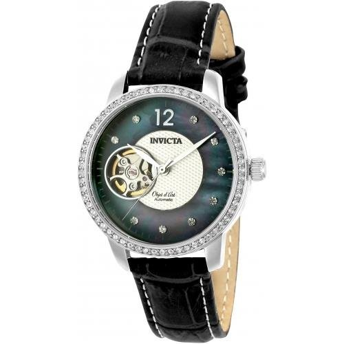Invicta Women's Objet D Art Stainless Steel Automatic-self-Wind Watch with Leather Calfskin Strap, Black, 16 (Model: 22620