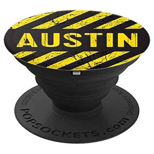 Austin Gift Construction Stripes Yellow Black Vintage Men - PopSockets Grip and Stand for Phones and Tablets