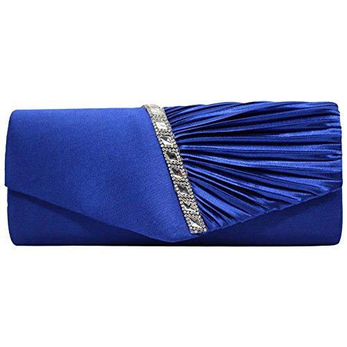 White Sparkly Satin Purse Womens Royal Clutch Studded Handbag Evening Blue Pleated Cckuu Crystal Ex4Hvxq