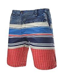 Cafuny Mens Casual Summer Plaids Prints Cargo Shorts Beach Shorts