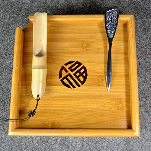 (Best Quality - Tea Trays - Natural kung fu Bamboo Tea Tray + Spoon + Knife Puer Tea Board set For Showing da hong pao Tea Ceremony Tools Accessories - by SeedWorld - 1 PCs)