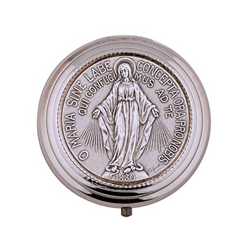 Vatican Imports Immaculate Conception Pill Box | 8 Host | Virgin Mary Madonna PYX | Silver-Plated Engraving | Christian Home Goods