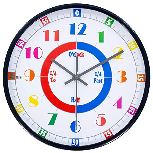 45Min Teaching Clock, Silent Movement, Educational Clock, Makes Kids Learning Time Faster and Fun. Child Clock Perfect for Parents and Teachers, Decorate Kids Bedroom or Classroom, Four Colors(Black)
