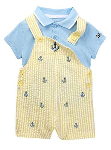 Shortalls Shirt (Little Me Yellow Stripe Anchor Shortall with Blue Knit Shirt (24 Months))