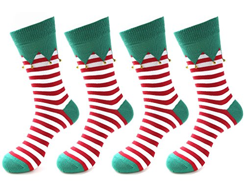 - OLIVE OLIVIA Men's Dress Crew Socks Christmas 4-Pack Women Knit Cotton Classic Assorted,#6 Christmas Special,Free Size