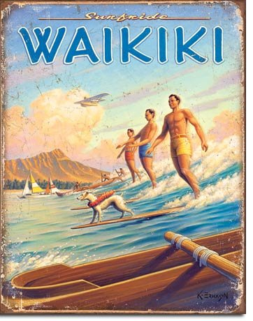 Tin Hawaii (Hawaii - Surfside Tin Sign 13 x 16in)