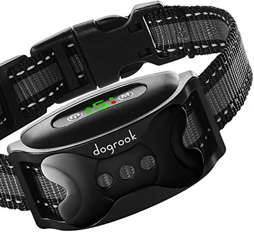 DogRook Dual Motor Dog Bark Collar - Rechargeable, Humane, No Shock Barking Collar - w/2 Vibration & Beep Modes - Adjustable for Small, Medium, Large Dogs - Automatic Training - Action Without Remote