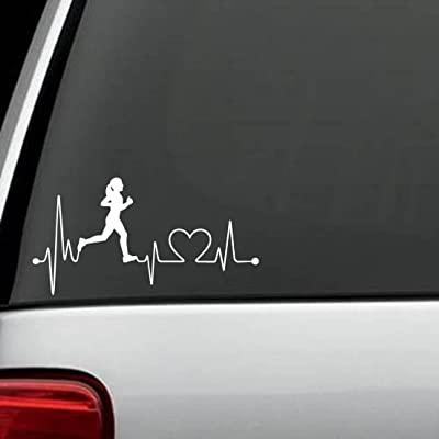 Bluegrass Decals K1008 Run Girl Heartbeat Marathon 13.1 26.2 Running Decal Sticker: Automotive