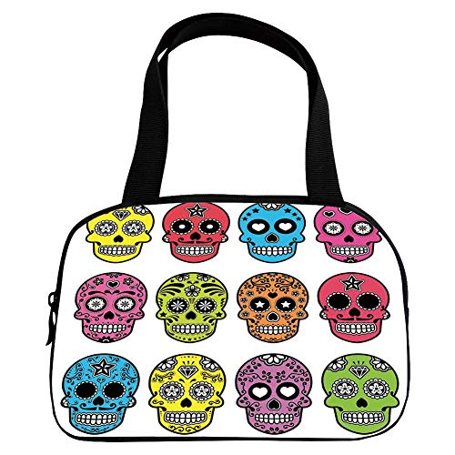 iPrint Increase Capacity Small Handbag Pink,Skull,Ornate Colorful Traditional Mexian Halloween Skull Icons Dead Humor Folk Art Print,Multi,for Girls,3D Print Design.6.3
