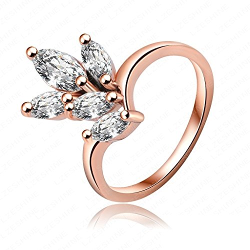 AmDxD Jewelry Gold Plated Engagement Rings for Women Round Rose Gold Size (Princess Cathedral Mounting Solitaire Ring)