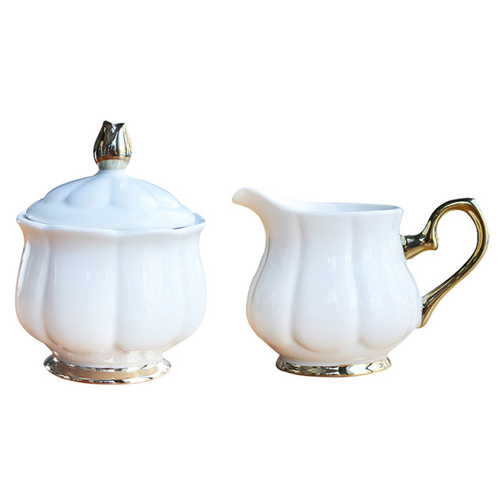 CHOOLD Royal Pure White Flower Shaped Ceramic Sugar and Creamer Set with Lid Creamer Serving Set Coffee Serving Set