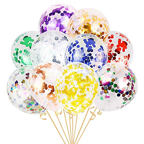 LUDEOU 50 Pcs Rich Color Confetti Balloons Premium 12 Inch Latex Balloons Birthday Baby Party Decorations