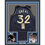Framed Autographed/Signed Shaquille Shaq O'Neal 33x42 Orlando Blue Pinstripe Basketball Jersey JSA COA