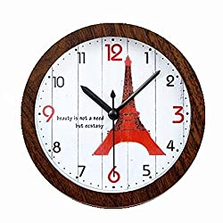 Usany 5 inch Paris Iron Tower wood color small alarm clocknumbers Silent Non-ticking Quartz Desk Clock Alarm Clock Round Desk Clocks 3D Clock Christmas gift (Peach wood)