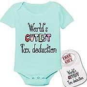 World's CUTEST Tax Deduction --Cute boutique Baby bodysuit onesie & matching bib