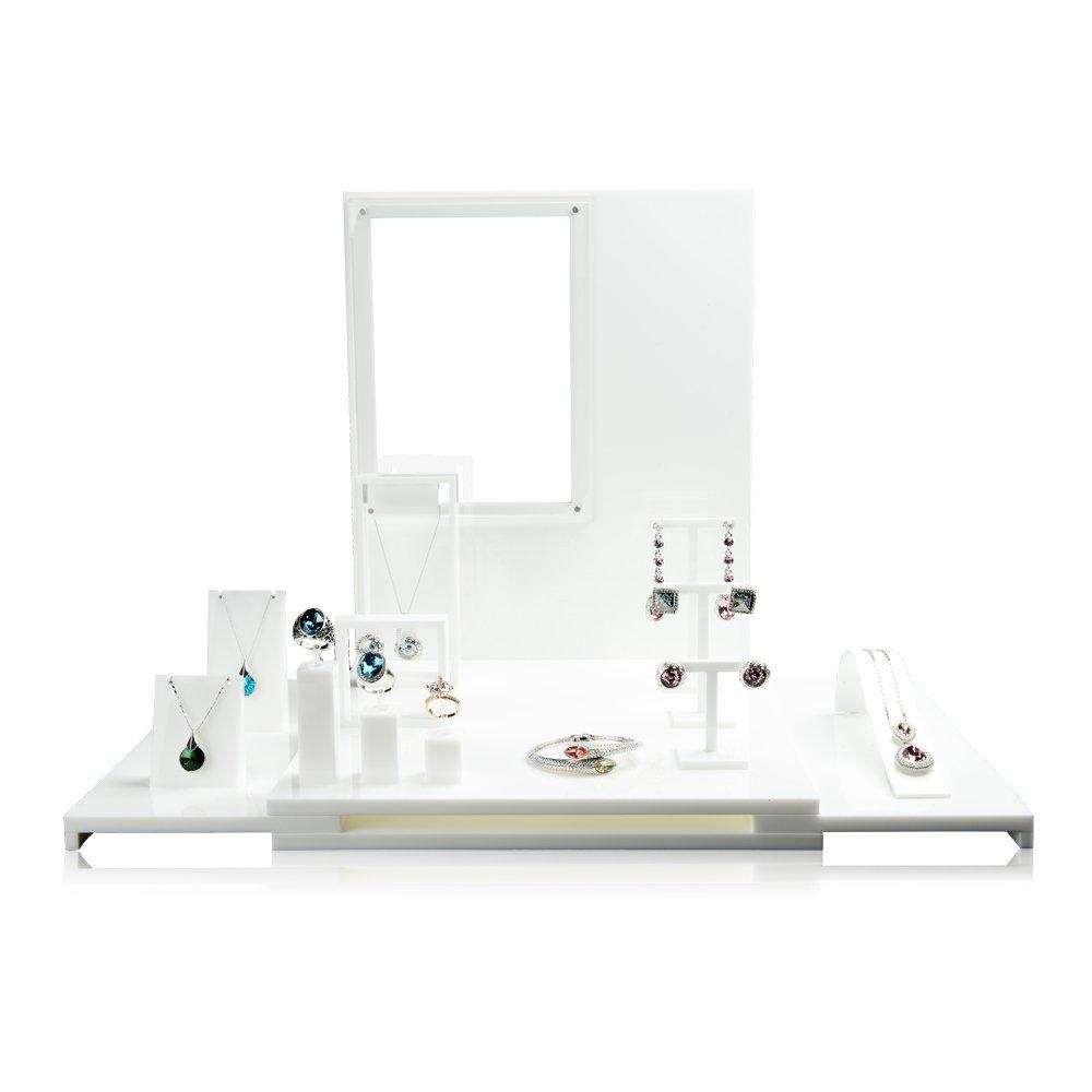 Oirlv Acrylic Jewelry Display Stand Set Jewellery Holder Show/Window Jewelry Display Organizer