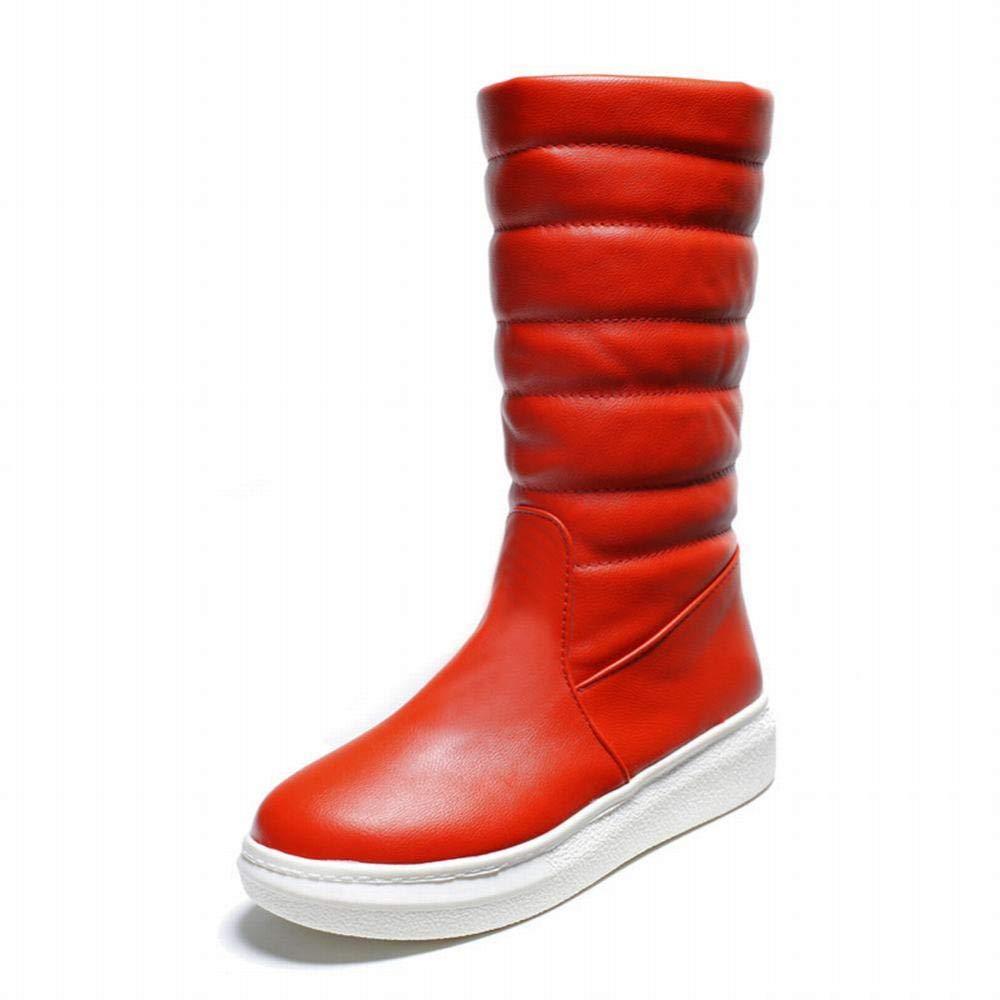 PLLP PLLP PLLP Botas de Mujer - Botas de Nieve Planas Antideslizantes de Invierno/Zapatos de Algodón de Tubo Largo / 35-43,Rojo,36 7e29cf