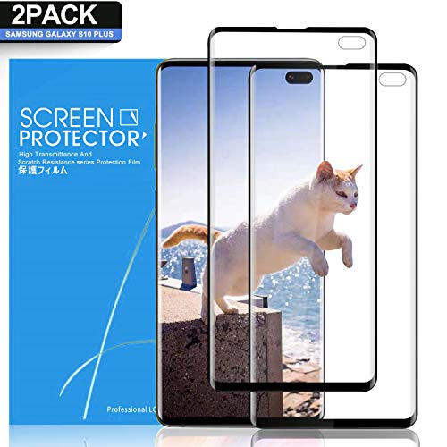 (Pazon Galaxy S10 Plus Screen Protector [2 Pack], Full Coverage HD Anti-Scratch Bubble-Free Case Friendly Screen Protector for Samsung Galaxy S10 Plus)