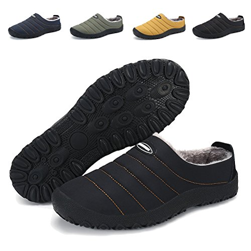 PENGCHNEG Men Women Waterproof Cotton Slippers Fur Lined Slip on Shoes for Snow Winter Outdoor Indoor
