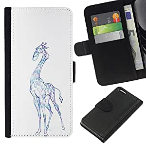Planetar® Modelo colorido cuero carpeta tirón caso cubierta piel Holster Funda protección Para Apple iPhone 5C ( Giraffe Art Drawing Colorful Pencil Blue )