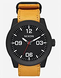Nixon Corporal Watch All Black with Goldenrod Leather Band