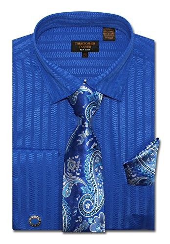 Christopher Tanner Men's Regular Fit Dress Shirts with Tie Handkerchief Cufflinks Combo Herringbone Stripe Pattern