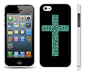 iStar Cases? iPhone 5/5S Case with Illuminated Neon Green Cross, Filigree Like Detail, Design , Snap-on Cover, Hard Carrying Case ( White)