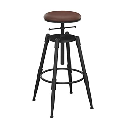 LIYIN-Barstools Industrial Barstools Chair Footrest Round Swivel Seat Adjustable Height 68-90cm for