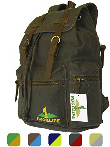 Cheap RUGGLIFE Vintage Canvas Backpack (Army Green) Leather Military Rucksack Hiking Daypack Casual