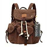 P.KU.VDSL Vintage Canvas School Laptop Backpack for Student AUGUR SERIES Brown