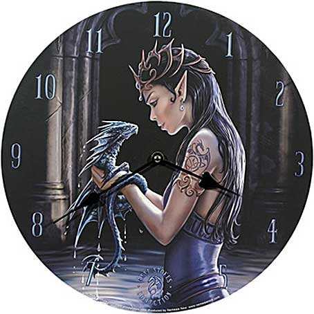 Anne Stokes Water Dragon Bedroom Wall Clock Round Gothic Medieval Clock -