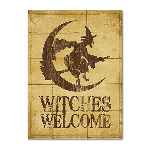 Trademark Fine Art Witches Welcome by Stephanie Marrott, Witch Halloween wall art