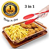 Copper Crisper Tray Set as Oven Oil Free Air Fryer-Non Stick Cookie Sheet and Fry Mesh Basket with Bonus Kitchen Silicone Tong