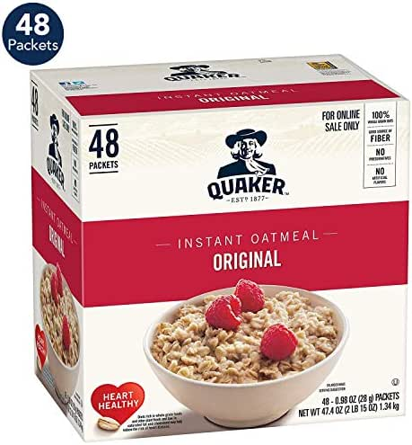 Quaker Instant Oatmeal, Original, 0.98oz Packets (48 Pack)