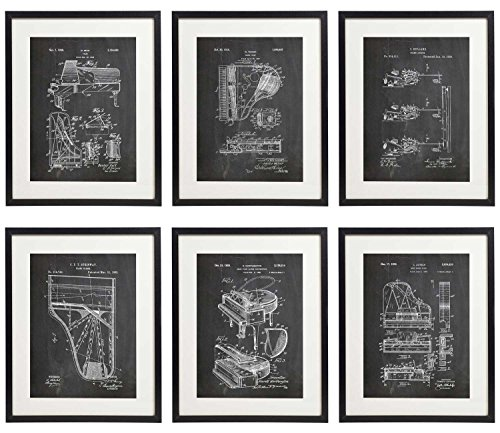 (Idiopix Piano Patent Wall Decor Chalkboard Art Print Set of 6 Prints UNFRAMED)