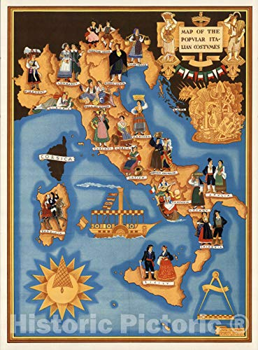 - Historic Map | Map of the popular Italian costumes. Emma Calderini & Umberto Zimelli, 1934 | Vintage Wall Art | 18in x 24in