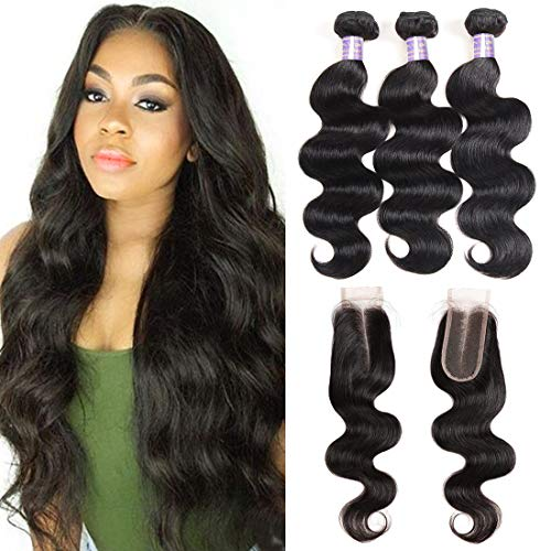 8a Brazilian Body Wave Bundles with Closure (12 14 16+12) 3 Bundles with 2X4 Middle Part Lace Closure with Baby Hair Natural Black Unprocessed Virign Brazilian Human Hair Bundles