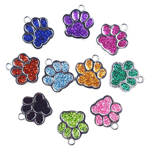 (AUEAR 24 Pcs Dog Cat Paw Print Charms Pendants Glitter Footprint Snap Button for DIY Necklace Bracelet Jewelry Making)