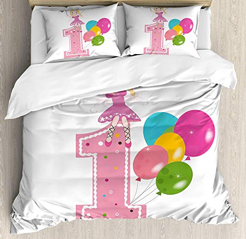 Comforter Bedding Set, Princess Fairy Party Theme with Best Wishes Pink Wand and Balloons Home Decoration 4 Piece Duvet Cover Set Include 1 Flat Sheet 1 Duvet Cover and 2 Pillow Cases, Twin