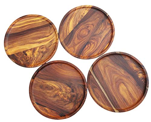 Crafticity Round, Premium Dark RoseWood Serving/Charger Plates, 11.1 Inches - Completely Organic with Natural food-safe finish (Beeswax + Coconut Oil) and without wood staining. Set of 4 plates