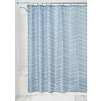 "InterDesign Kylie Soft Fabric Shower Curtain, 72"" x 72"", Slate Blue - Features 12 reinforced button holes for easy hanging Easy care: machine wash cold; tumble dry low Quick-dry; mold/mildew resistant - shower-curtains, bathroom-linens, bathroom - 51PFLvDrktL. SS400  -"