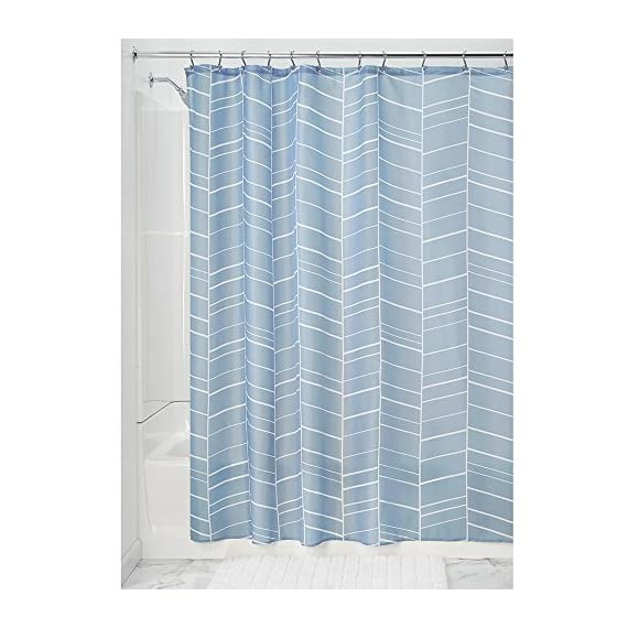"""iDesign Kylie Soft Fabric Shower Curtain - 72"""" x 72"""", Slate Blue - FABRIC SHOWER CURTAIN: High-quality wrinkle resistant 100% polyester fabric gives your shower stall a sleek look. Great for master bathroom, guest bathroom, kid's bathroom, or basement bathroom STYLISH: Slate blue feather pattern is stylish and looks great with any decor REINFORCED BUTTONS: 12 reinforced button-holes are suitable for S hooks, shower rings, and other shower curtain hooks for easy hanging - shower-curtains, bathroom-linens, bathroom - 51PFLvDrktL. SS570  -"""