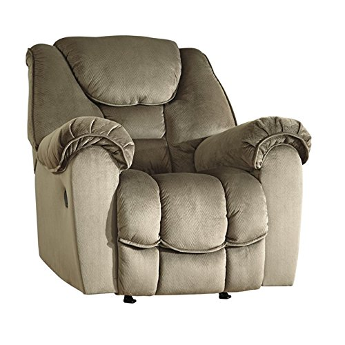 """Benchcraft Jodoca 3660125 44"""" Rocker Recliner with Pillow Top Arms Piped Stitching Metal Frame and Fabric Upholstery in Driftwood"""