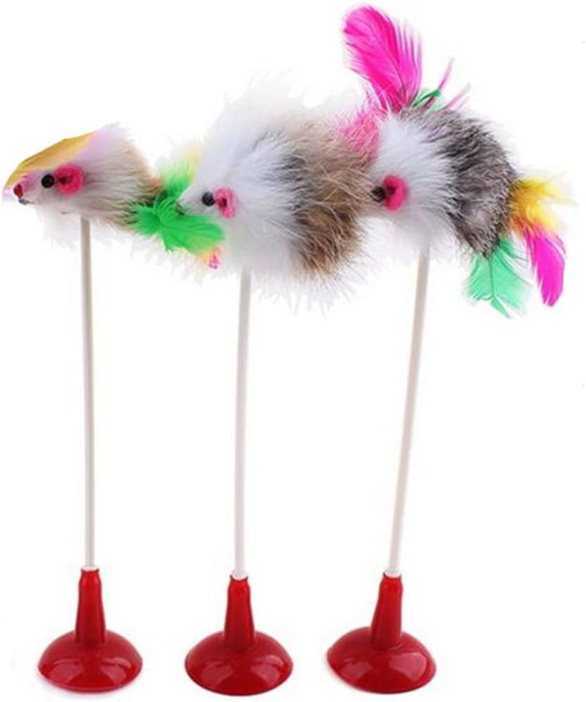 Idyandyans 20CM Mouse Shaped Sucker Toys with Feather plastic mouse toys sucker Tails Toys for Cats Color Random