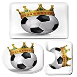 3 Piece Bath Mat Rug Set,King,Bathroom Non-Slip Floor Mat,Football-Soccer-Championship-Inspired-Ball-Crown-with-Ornaments-Image-Print,Pedestal Rug + Lid Toilet Cover + Bath Mat,Black-White-and-Gold